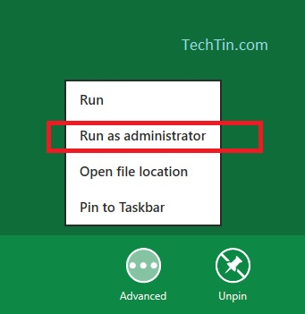 windows 8 run as administrator