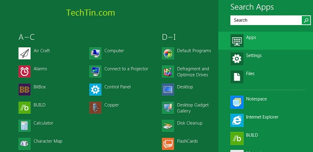 Search apps in windows 8
