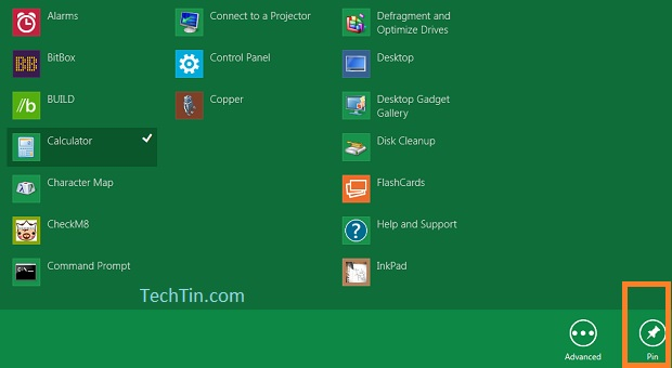 Pin app in windows 8