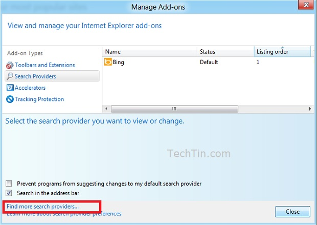 Find more search provider in IE10