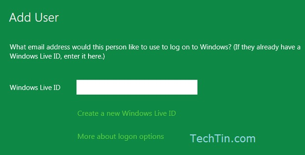 Enter windows live ID