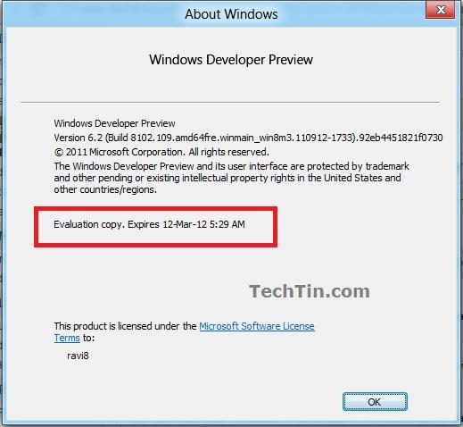 windows 8 developer preview expiry date